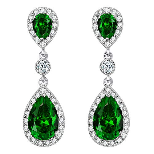 EleQueen 925 Sterling Silver Full Prong Cubic Zirconia Birthstone Teardrop Bridal Dangle Earrings Emerald Color