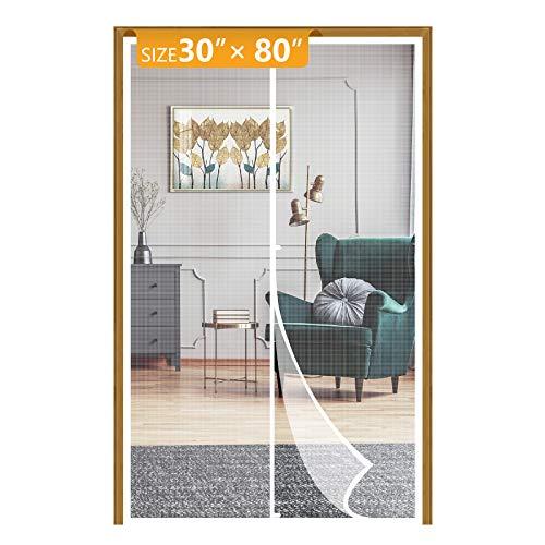 Yotache White Fiberglass Magnetic Screen Door Fits Door Size 30 x 80, Heavy Duty for Home Apartment Door Size 30'W x 80'H with Full Frame Hook&Loop Strip