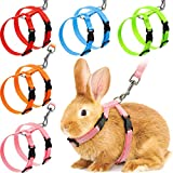 5 Pieces Adjustable Rabbit Harness Leash Bunny Harness Leash, Harness Leash for Pet Safety Walk Running Jogging, Pet Harness Leash for Bunny Cat Puppy Kitten Ferret and Other Small Pet Animals