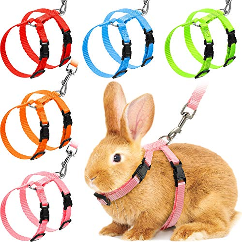 Outus 5 Pieces Harness Leash Adjustable Rabbit Harness for Pet Safety Jogging, Walk, Running