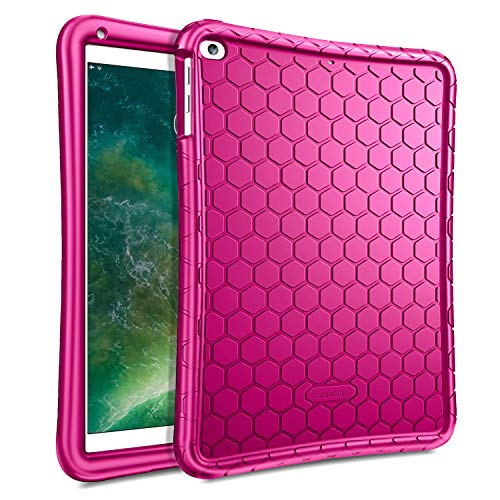 Fintie Case for iPad 9.7 2018 2017 / iPad Air 2 / iPad Air - [Honey Comb Series] Light Weight Anti Slip Kids Friendly Shock Proof Silicone Protective Cover for iPad 6th / 5th Gen, Magenta