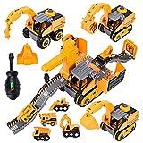 Herefun Vehículos de Construcción para Niños, 4 en 1 Camión de Ingeniería Desmontable, Excavadora Juguete, Excavadora Juguete para Niños, Juguete de Construcción Camión, Cumpleaño regalo para 3 + Años