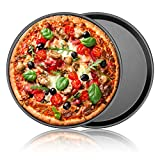 Nonstick Pizza Pan 13 Inch, Carbon Steel Pizza Pie Baking Pan Trays for Oven Baking 2 Pack Round Cookie Loaf Bread Pancake Baking Sheet