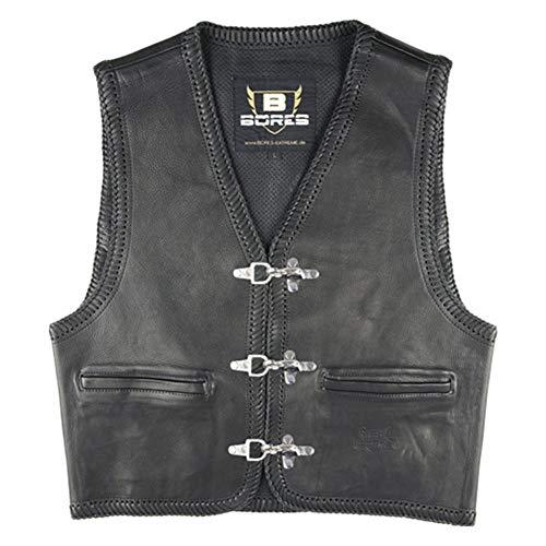 Bores Sunride 1 Rinder Lederweste, Innenliegende Taschen, Schwarz, Größe 4XL