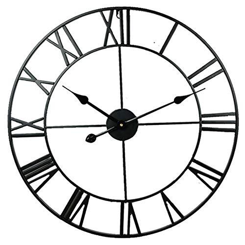 BCBKD Reloj de Pared Grande Reloj de Pared Vintage Industrial Europeo con Números Romanos Reloj de Metal Silencioso para Sala de Estar Dormitorio y Cocina Decoración, Funciona con Pilas Black,40cm
