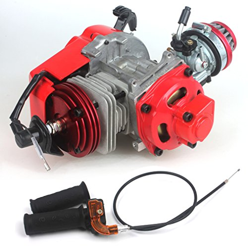 49cc 52cc Big Bore Pocket Bike Engine with Performance Cylinder CNC Engine Cover Racing Carburetor DIY Engine Red + Handle Grip + Throttle Cable
