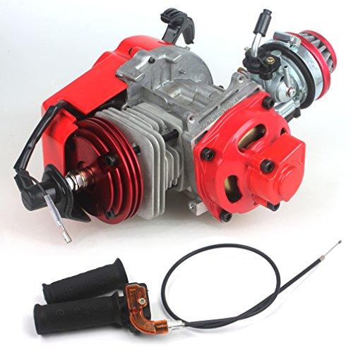 Pocket-Bike-Motor,49cc 52cc, große Bohrung, mit Performance Zylinder CNC-Motorabdeckung, Racing Vergaser, DIY Motor (Motor + Griff + Gaszug, rot)