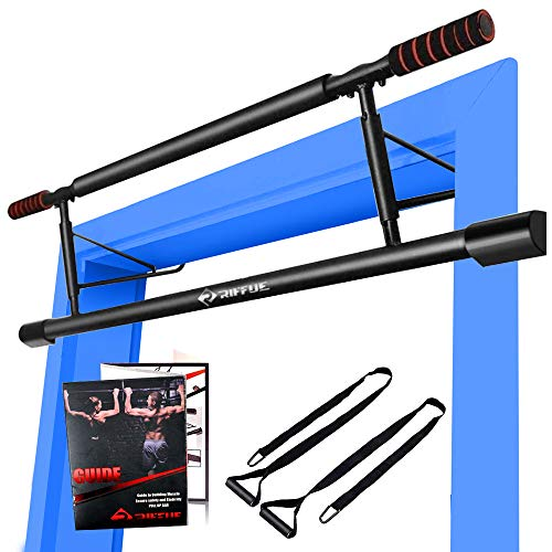 RIFFUE Pull Up Bar for Doorway Chin Up Bar No Screw Installation Adjustable Width Locking Mechanism for Home Gym Exercise Fitness with Smart Hook Technology