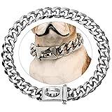 Collar para perros plateado de acero inoxidable con hebilla de seguridad, cadena de metal, cadena para perros de paseo resistente a la masticación y hebilla de perro.
