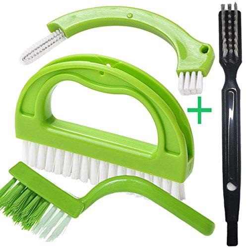 Küche Badezimmer Reinigungsbürste Fliese Fugenbürste Schrubber Bürsten - Entfernt Schimmel Oberflächlich (4 Bürsten Enthalten) Grün