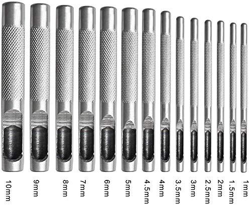 ZOYUBS 14本 革 穴あけポンチ ハトメ抜き 丸形 円型 打ち具 ベルトポンチ 工具 穴あけ革 穴あけパンチ 打ち抜きポンチ レザークラフト DIY ポンチセット 革ポンチ 皮ポンチ 中空 パンチ ベルト スチール製 1mm 1.5mm 2mm 2.