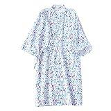 FEOYA Yukata Japonés para Sauna Albornoz Delgado Algodón Mujer Verano Bata de Baño Kimono Estampado Ropa de Dormir Vestido de Noche Color Azul Flor Talla M
