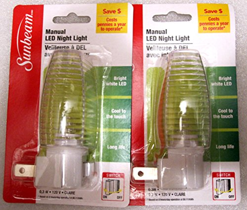 2 Plug in Manual LED Night Lights with bulb included