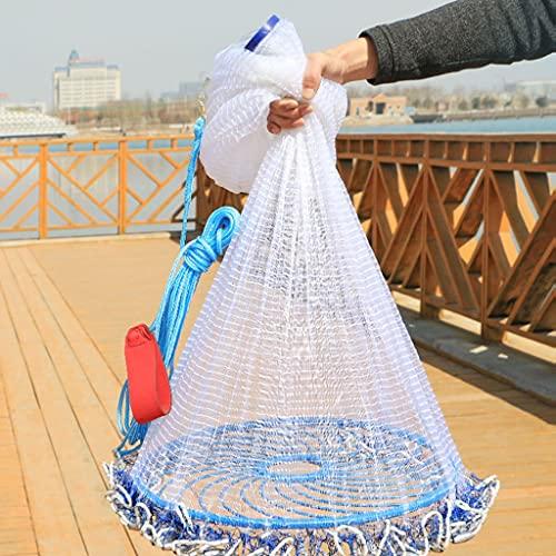 BBGS Red de Pesca con Pesos Reales de Servicio Pesado para Peces Trampa de Cebo, 3.6/4.2/4.8/5.4/6 / 7.2m Hilo de Nylon para Neumáticos Fly Cast Net (Size : 4.2m)