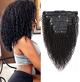 Rolisy Kinkys Curly Clip in Hair Extensions Afro 3C 4A Kinky Curly Clip ins Real 8A Brazilian Remy Hair for Black Women Double Lace Wefts Hair,Natural Black Color,10 Pcs,120 Gram,18 Inch