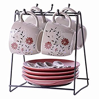 Amoi Pretty Cappuccino Cups and Saucer Sets Floral Tea Cup Set Of 4 Ceramic Espresso Cups with Saucers/Metal Stands/Spoons for Latte 6 oz