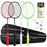 Super Light Badminton Rackets Badminton Racquets Set with Wrapped Overgrip, Zalava Badminton Set 4 Pack,Carbon Fiber, Carrying Bag Included,for Beginners and Advanced Players