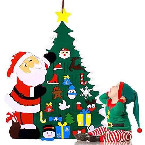 Felt Christmas Tree- DIY Felt Tree Set with 26PCS Hanging Ornaments, DIY Xmas Tree Toy for Kids Family New Year Handmade Christmas Door Wall Hanging Decorations Home Party Decor