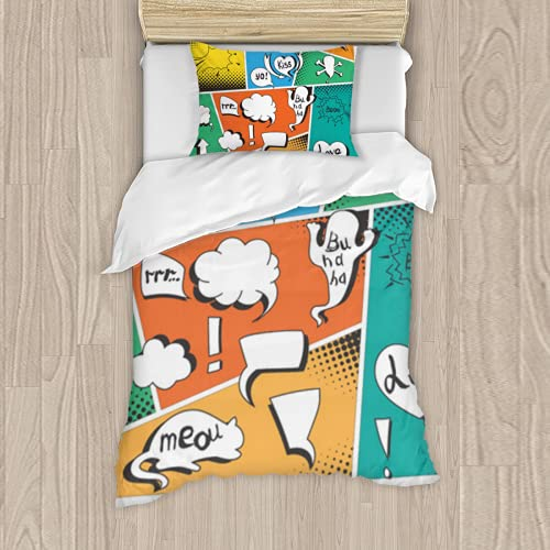 Premium Polyester bedding Set 3 Piece,vector a high detail typical comic book page with various speech bubbles symbols comic blank boom spsoft Comforter Matching Shams twin bed set quilt set TwinXL