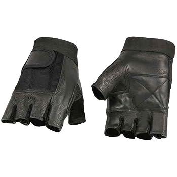 X-Large Xelement XG850 Mens Black Leather Deerskin Fingerless Motorcycle Gloves