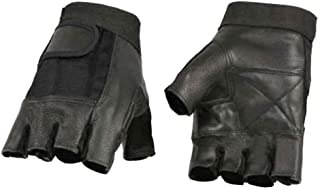 Milwaukee Leather Men's Leather Mesh Combo Fingerless Gloves, Black SH217 (L)