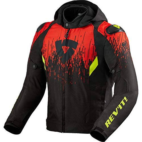 REV'IT! Motorradjacke mit Protektoren Motorrad Jacke Quantum 2 H2O Textiljacke schwarz/rot L, Unisex, Sportler, Ganzjährig, Polyester