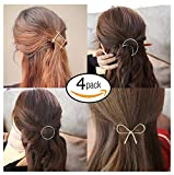 FOK 4 Piece Minimalist Moon Circle Infinity Design Hair Clip Pin For Women/Girls