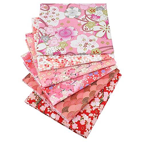 6 piezas 48x48cm, Tela de algodón liso de bronceado rosado impreso, tela de pata de trabajo, tela de acolchado de precorte Hojas de cuadrados para el remiendo de bricolaje Costura de coser Elaboración