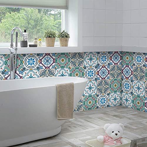 Yoillione Marokkanischer Fliesenaufkleber Mosaik Fliesenaufkleber Wasserdicht für die Küche,Vinyl Sticker Fliesen Selbstklebend Fliesenfolie Badezimmer,Bad Fliesensticker 20x20CM