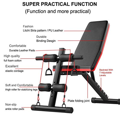 YCLOGHO Multifunctional Dumbbell Bench Adjustable Weight Bench wFitness Rope - Foldable Sit Up Bench - Dumbbells Bench - Decline Incline FAbs Bench Home Gym FFly Weight Press