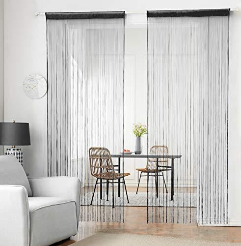 hsylym tejer cortina de paneles denso poliéster cortina de flecos Fly pantallas habitación separador para puerta ventana decoraciòn 90x200cm Negro