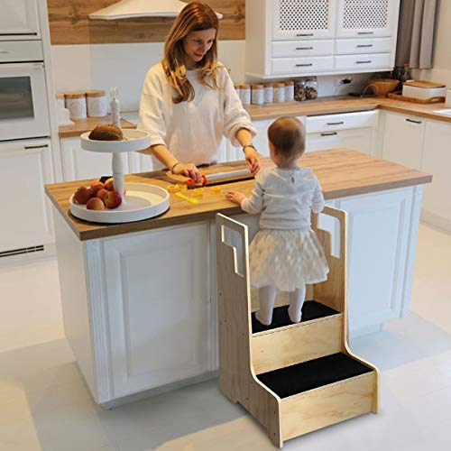 KINGSO Kitchen Helper Stool for Kids, Toddler Step Stool, Wood Step Stool with Support Handles and Non-Slip Mat, Two Step Counter Height Kids Step Stool, Natural