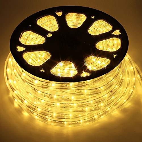 COCOMIA 50M Tubo de LED Manguera, LED de Tira de Manguera Exterior e Interior,Tiras LED Manguera para Decoración e Iluminación Halloween, Boda, Fiesta, Navidad Blanco Cálido