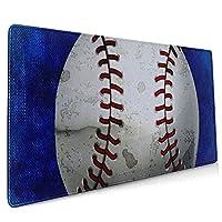 怒っている野球の青いキーボードマウスマット超滑らかな表面ラップトップ用の多機能で快適なマウスマット(35.4x15.7インチ)