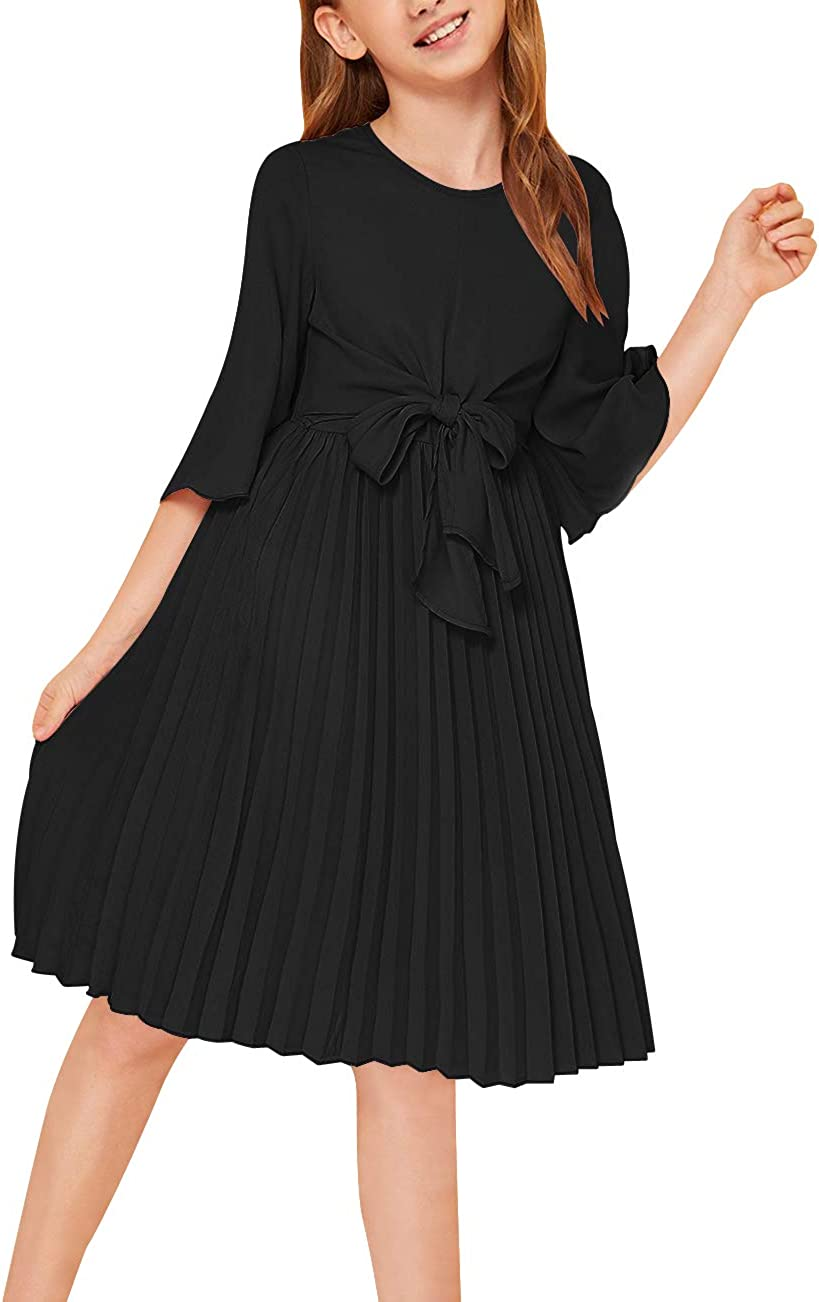 GORLYA Girl's Bell Sleeve Front Bow Tie Casual Elegant Fit and Flare Chiffon Pleated Dress for 4-14T Kids