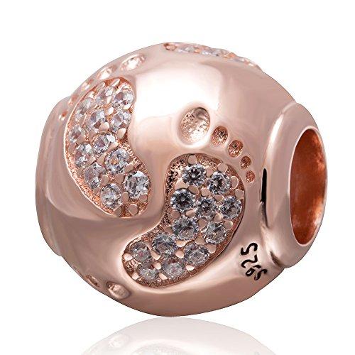 Charmkraal, voetafdrukken, 925 sterling zilver, voor Pandora-bedelarmbanden