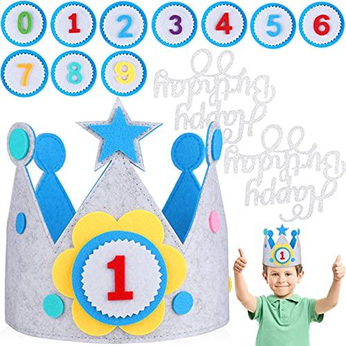 JOYUE Corona de Infantil Cumpleaños, Unisex Corona per Números Intercambiables del 0 al 9, Corona de Tela Ideal per Fiestas de Cumpleaños (Con 2 pcs Decoración de Pasteles) (Bleu)
