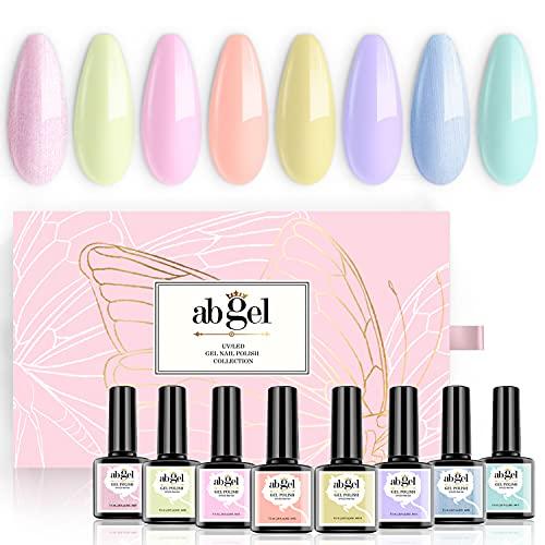 ab gel UV Nagellack - 8 Gel Nägel Rosa Gelb Blau Tiffany Gel Nagellack Set Shellac Nagellack mit Geschenkbox