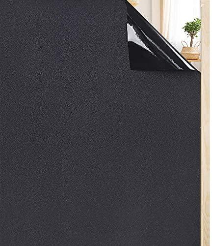 rabbitgoo Fensterfolie selbstklebend Sichtschutzfolie Blickdicht Verdunkelungsfolie Fenster Klebefolie statische Folie dunkel für Schlafzimmer Badezimmer Anti-UV Schwarz 60 x 200 cm