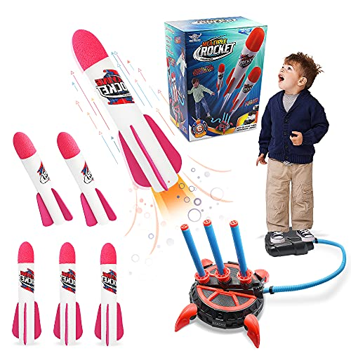 Toy Rocket Launcher for Kids, 6 Pcs Foam Rocket Refills and Air Jump Stomp Rocket Launcher with Foot Launch Pad, Fill 3 Pcs Rockets Together, Outdoor Game Toys Gift for Child 3 Years Old and Up
