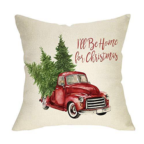 Fodera per cuscino decorativo da lancio per fattoria di Natale Camion rosso vintage con albero Decorazione per le vacanze invernali I \u0026 rsquo; ll Be Home for Xmas Sign Decor Fodera per divano divano 18 'x 18' Lino in cotone