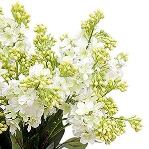 "Calcifer 10 Stems (3 Branches/Stem) 27.56"" Artificial Lilac/Syringa vulgaris L. Bouquet Artificial Flowers for Wedding Party Home Garden Office Shop Decoration (White)"