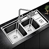 HONGYAN 304 stainless steel sink, three tanks, with trash can, multi-function kitchen sink, thickened double tank sink ALTHY-1007 36.22X16.92 inch