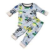 Anglewolf Kleinkind Outfit Set Dicke Sleepwear Babykleidung 2 Stück Baby Jungen Mädchen Säugling Rundhals Langarmshirt Kinder Bedrucken Schlafanzug+Hosen Nachthemd(Grau,9)