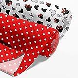 Baumwollstoff Meterware Stoff aus Baumwolle Set 2 x 100x160 cm - Stoffe zum Nähen Nähstoffe (Mäuschen, Weiße Punkte auf Rot, 2er Set: 100 x 160 cm)