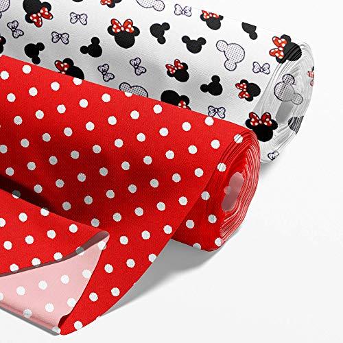 Baumwollstoff Meterware Stoff aus Baumwolle Set 2 x 100x160 cm - Stoffe zum Nähen Nähstoffe Mäuschen (Topolino, puntini bianchi su rosso, Velluto 100x60 cm + cotone 100x80 cm)