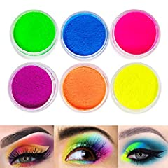 6 bright colors Neon Rainbow eyeshadow powder. Highly pigmented eyeshadow shades with 6 super vibrant eye shadows: rose red,orange,yellow,green,blue,purple, you can create super fun summer looks with this compact eyeshadow set. Create the perfect loo...