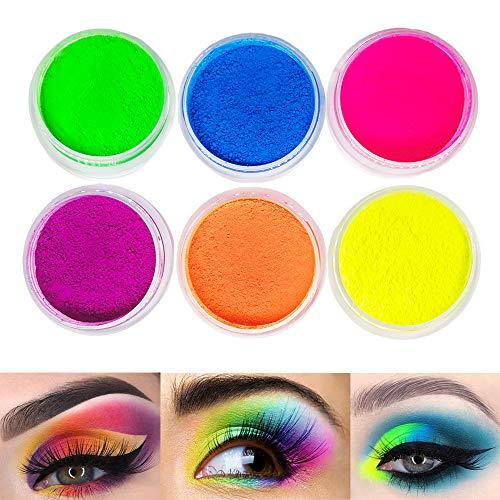 Neon Pigment Eyeshadow Powder ,FindinBeauty UV Glow Blacklight 6 Mixed Bright True Colors Eye Shadow Pigments Fluorescent Matte Mica Dye Colorant Neon Makeup Set (6NE)