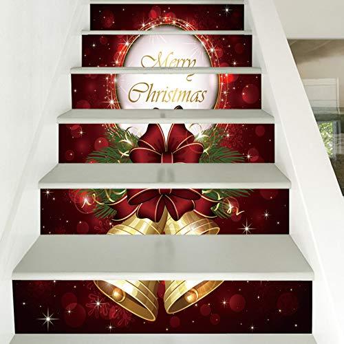 Pegatinas para escaleras, diseño de campanas navideñas, de PVC, impermeable, para pared, 39,3 x 7 x 6 unidades