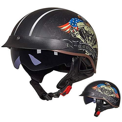 AI DI SAI Cascos Retro de Moto para Adultos Hombres Mujeres, con Gafas de Sol, Aprobado por Dot/ECE, Patrón de Moda,F,XL=(59~60CM)